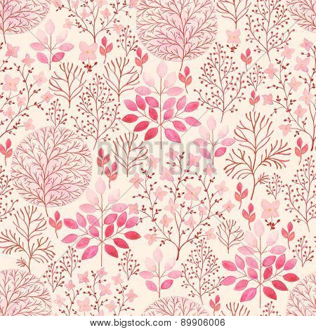 Seamless watercolor abstraction floral pattern of branches, flowers and trees, illustration in vintage style.