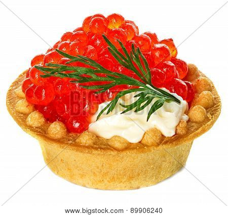 Tartlet With Red Caviar Isolated On White Background
