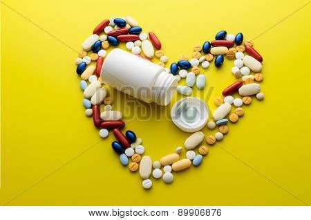 Colorful Pills Drugs And Tablets