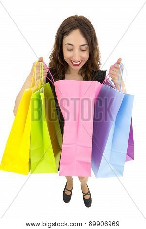 Curious Gift Woman Looking Into Shopping Bag