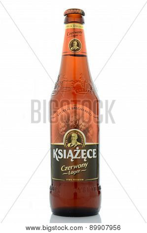 Ksiazece red lager beer isolated on white background