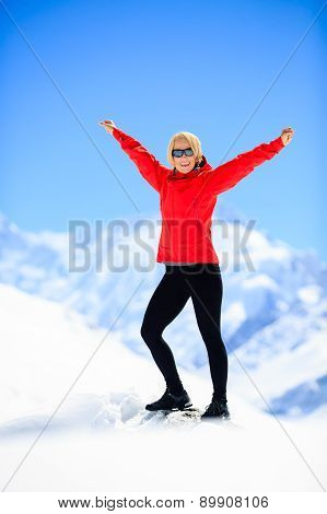 Woman Happiness Portrait On Mountain Peak