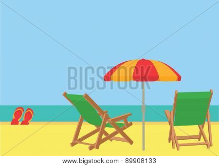 Scene on a tropical beach with deck chairs