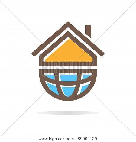 Logo Combination Of A House And Earth.