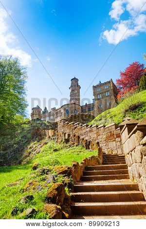 Stairs to old ruins of Lowenburg castle, Bergpark
