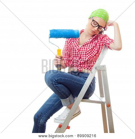 Sleepy Woman With Paint Roller, Isolated On White. Lazy Female Worker On Renovation Or Wall Painting