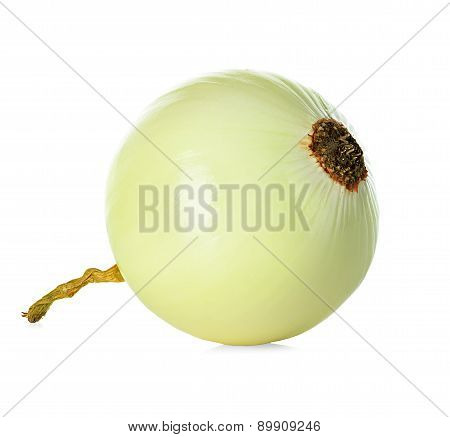 Peeled Onion Isolated On White Background