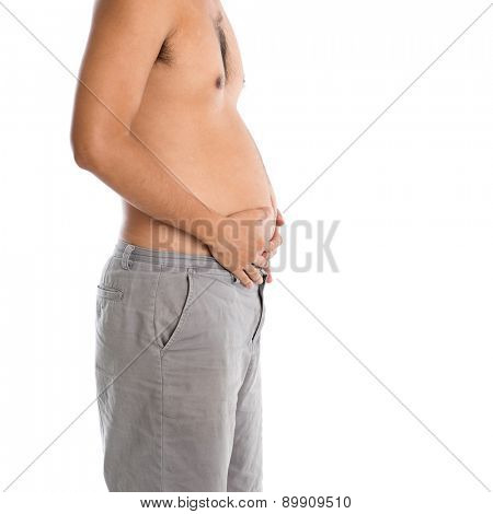 Man holding his fat belly, isolated on white background.
