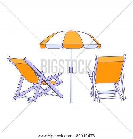 Vector yellow deck chairs under beach umbrella