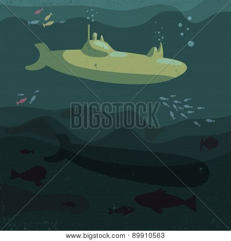 Vector Illustration Of Submarine