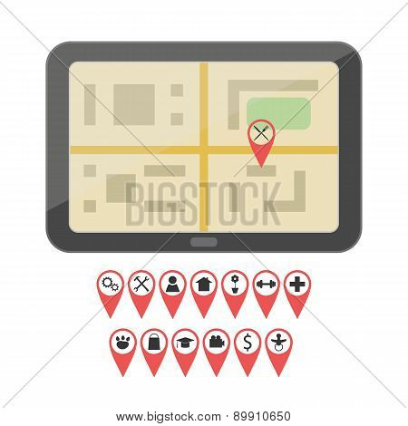 GPS device with geo pin icons