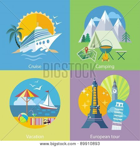 Traveling Tour, Cruise Ship and Camping Concept