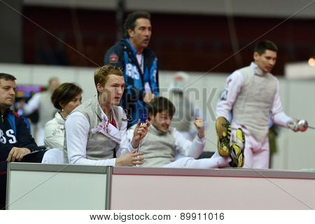 ST. PETERSBURG, RUSSIA - MAY 3, 2015: Russian team reacts during team quarterfinal match against Japan in International fencing tournament St. Petersburg Foil. The tournament is the stage of FIE World Cup