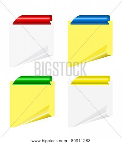 Vector yellow sheets with curled corner and clips