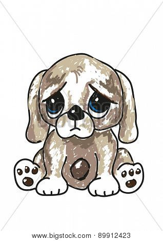 Sketch of a cute sad looking cartoon puppy, with big blue eyes. EPS10 vector format