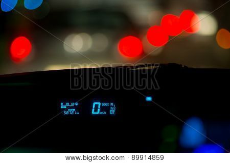 car traffic jams night lights