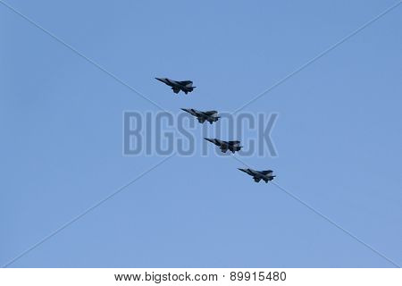 Moscow - May 5, 2015: Warplanes Fulfill Aerobatics Ready For The Parade In Honor Of Victory Day