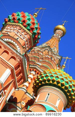 Domes of St. Basil cathedral on the Red Square in Moscow, Russia