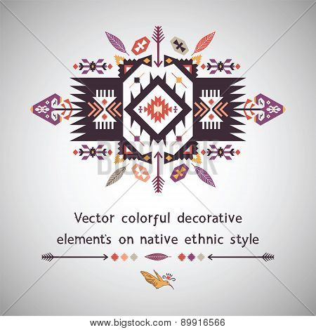 Vector colorful decorative element on ethnic style