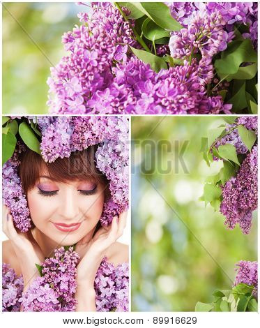 Young woman with lilac flowers. Spring collage