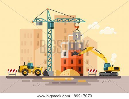 Construction site, building a house.