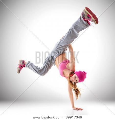 Teen girl hip-hop dancer, studio shot