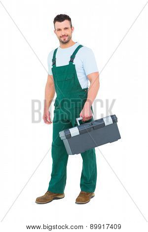 Repairman holding toolbox on white background