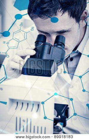 Science formula against scientific researcher using microscope in the laboratory