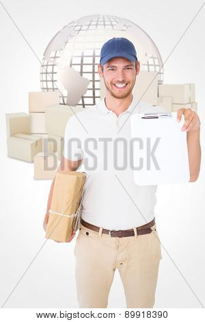 Happy delivery man holding cardboard box and clipboard against logistics concept