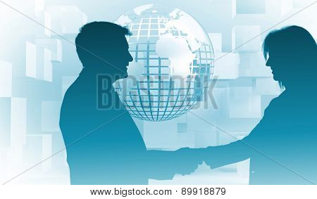 Pleased businessman shaking the hand of content businesswoman against planet on grey background with cubes