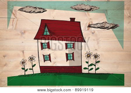 Hand drawn house against bleached wooden planks background