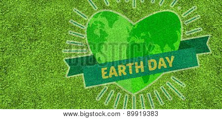 Earth Day Graphic against astro turf surface