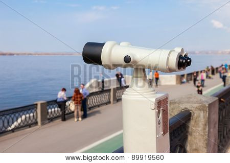 Coin Operated Binocular On The Bank Of River Volga In Summertime