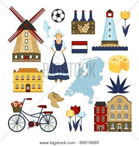 Netherlands Symbols Set