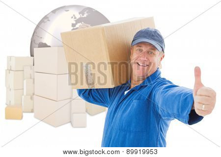 Happy delivery man holding cardboard box against logistics concept