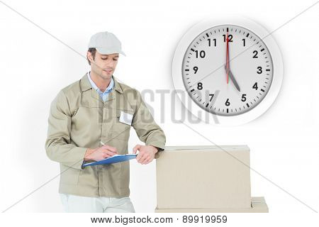 Delivery man writing on clipboard against five o clock