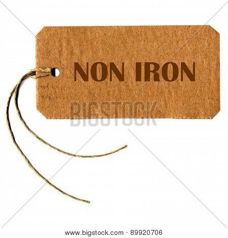 Non Iron Tag Label