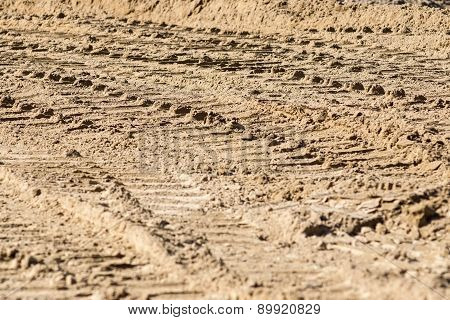 Tire Traces On Sand