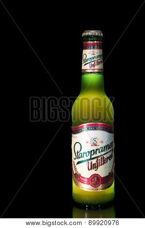 Bottle Of Unfiltered Staropramen Beer