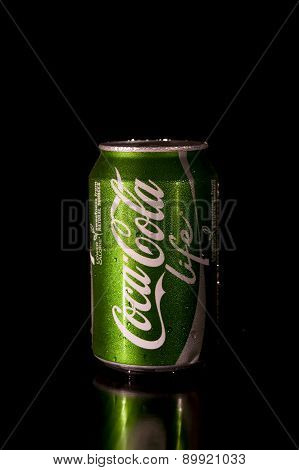 330Ml Coca Cola Life Bottle Can On Black