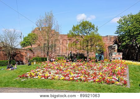 Shrewsbury castle and flowerbeds.