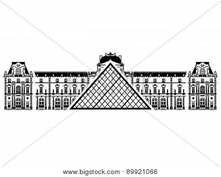 French Louvre Museum In Black-and-white Color