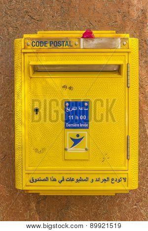 TAROUDANT, MOROCCO - APRIL 9, 2015: Yellow mailbox