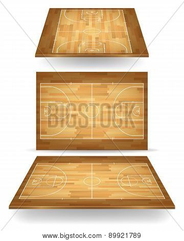 Wooden Basketball Court With Perspective