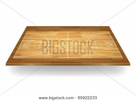 Wooden Basketball Court. Vector Illustration.