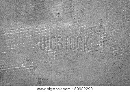 Splitted And Cracked Dark Grey Concrete Wall With Net And Holes, Textured Cement Background