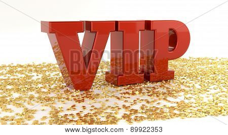 Vip - Red Text On Gold Stars - High Quality 3D Render