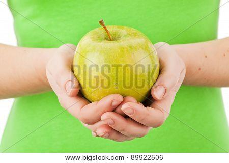 Green Apple In Hands