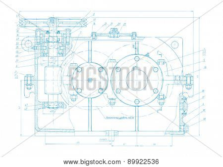 Vector background of abstract engineering drawing. Tech documentation of detail reducer project. Blueprint design