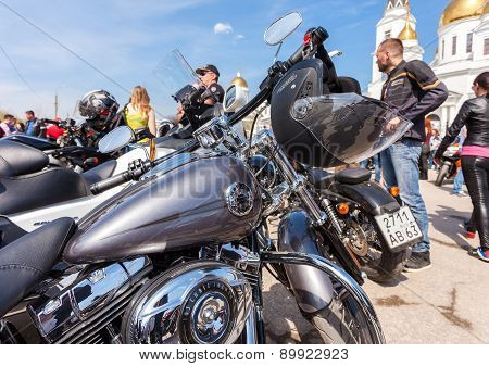 The Traditional Annual May Day Gathering Of Bikers In Samara, Russia